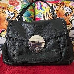 Authentic Michael Kors black leather satchel/ tote